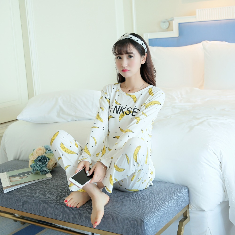 Womens   Pajamas     Sets   Long sleeve suit Summer   pajamas     sets   for womens simple long-sleeved alarm clock women pyjamas sleepwear
