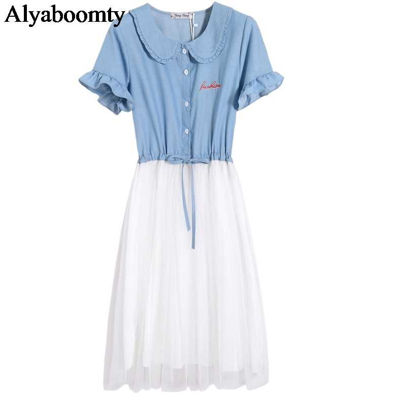 Школьный стиль; Лето, женское милое платье, воротник Питер Пэн, вышивка, письмо, тюль, платье, синяя джинсовая сетка, милое платье принцессы каваи