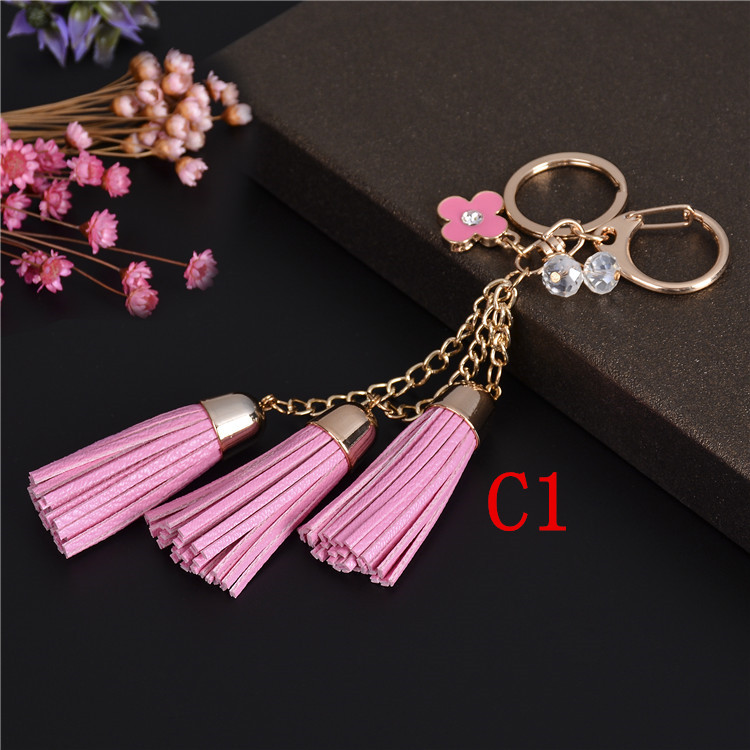RB2140 New Gold Metal Flower Keychain llaveros para parejas Leather Tassel Keychain Key Chains Keyrings porte cle llaveros