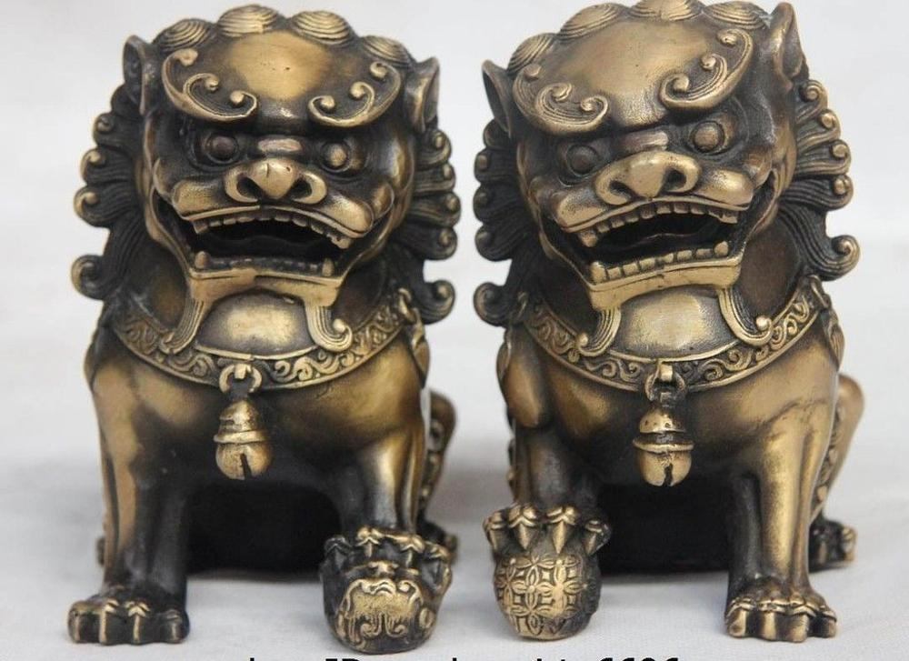 5 China Bronze Copper Fengshui Evil spirits Fu Foo Dog Lion Son Bead Statue Pair5 China Bronze Copper Fengshui Evil spirits Fu Foo Dog Lion Son Bead Statue Pair
