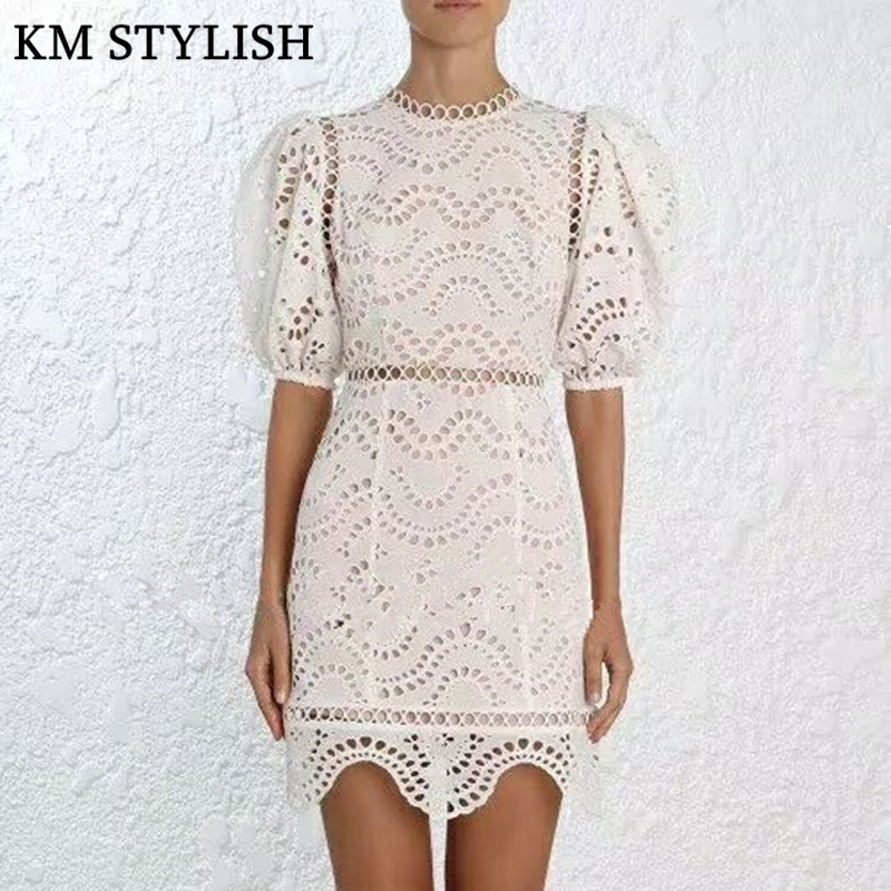 Australian Tide Brand 2018 Summer Sexy Backless Bow Hollow Out Stand Collar Dress Slim Embroidery Puff Sleeve Dress Womem hollow out embroidery panel dress