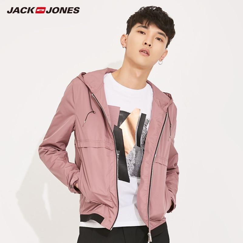 JackJones hombres peso ligero con capucha chaqueta con capucha deporte prendas de vestir exteriores ropa de Color sólido 2019 nueva marca joven de los hombres de moda E   218121504
