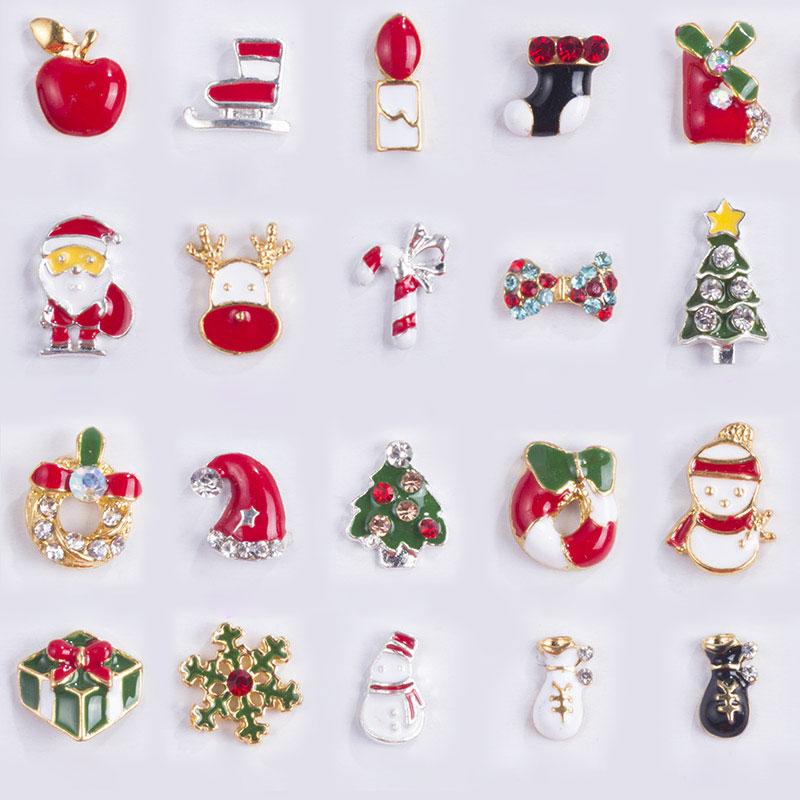 NEWBY 10 Designs/box Alloy Metal Christmas Snowman Nail