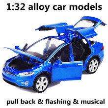 1:32 alloy car models,high simulation Tesla MODELX90, metal diecasts,toy vehicles,pull back & flashing & musical,free shipping