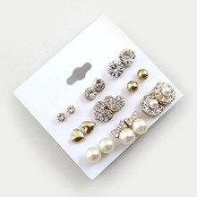 Elegant Women's Stud Earrings 9 Pairs/Set