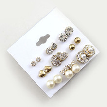 9 Pairs/Set Earrings Fashion Elegant Shiny Gold Colour Heart Crystal Pearl Flowers Stud Earrings Cute Super Value Earring Sets