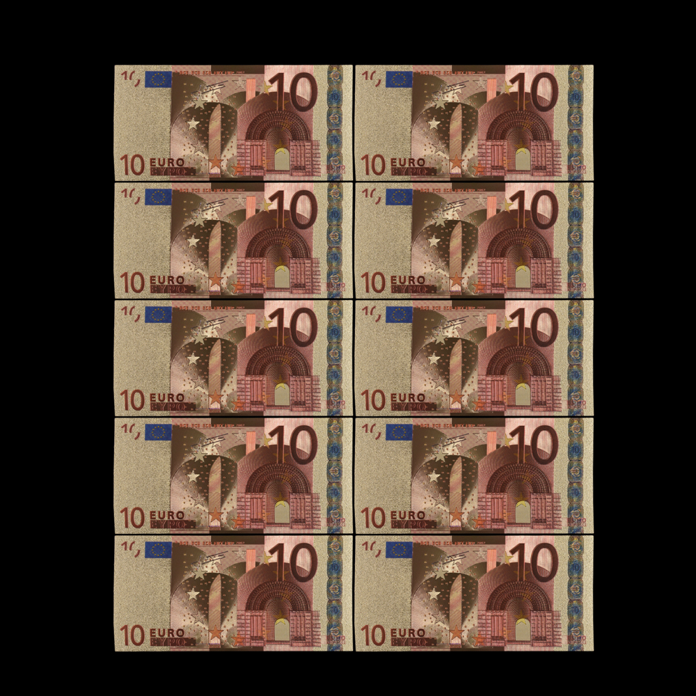 10PCS Colorful Gold Banknote Euro 500 Bill Currency Paper Money Banknote Collect