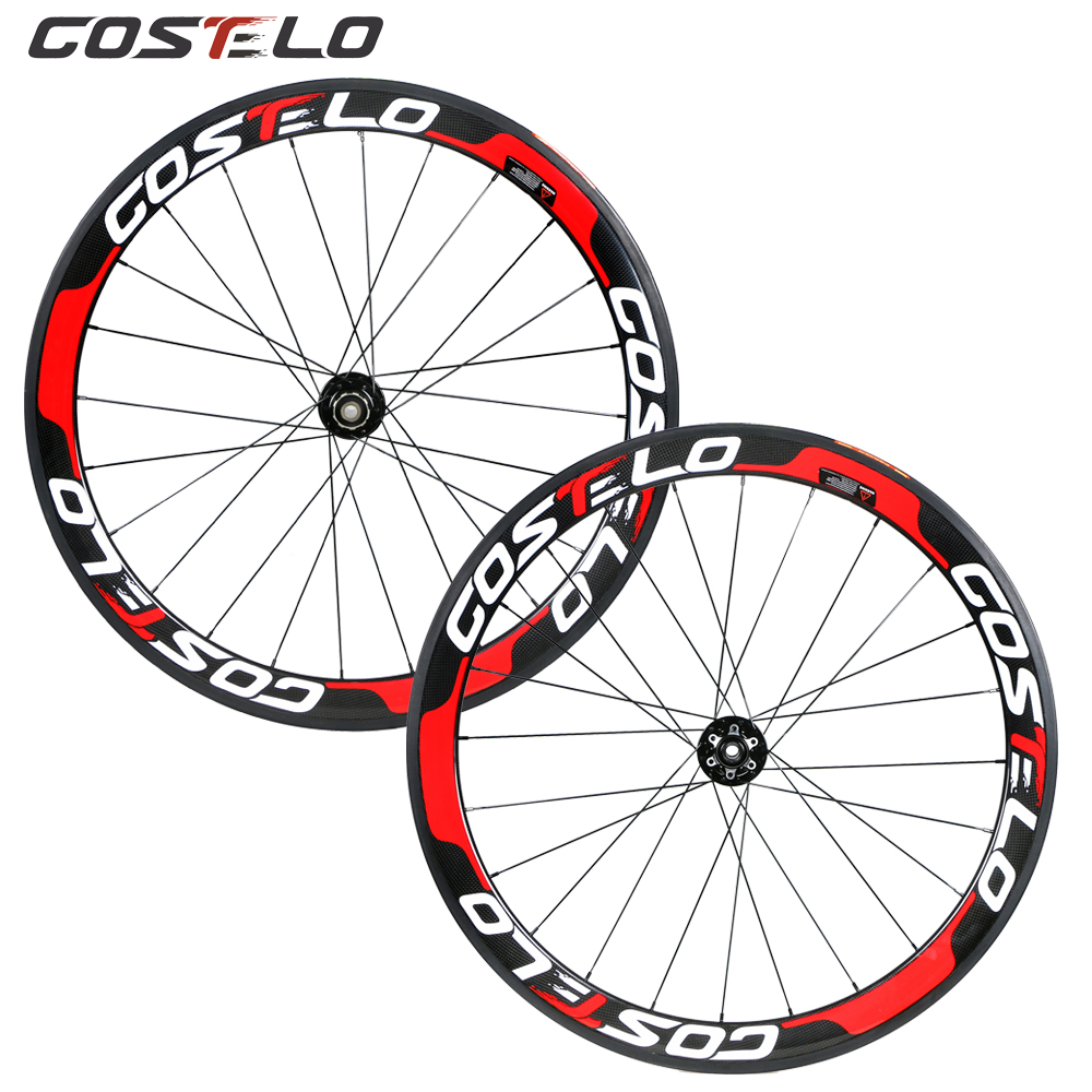 Costelo Thru Axle 6 Bolt Disc brake carbon road bike wheels 700C 50mm Clincher Carbon Wheelset Tubuar 25mm U shape cyclocross 3pairs lot ek6 ef6 end supports bearing fixed side ek6 and floated side ef6 match for screw shaft