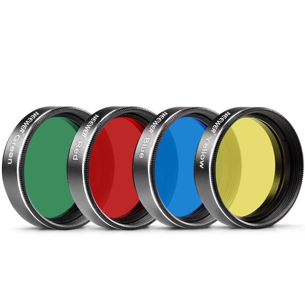 Neewer 4 PZ Standard 1.25 pollici Filter Set Colori per Telescopio Oculare: Rosso Giallo Verde Blu per Lunare/Planetary Osservazione