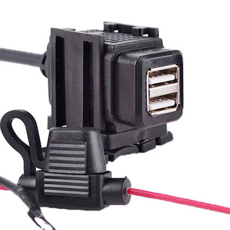 EAFC Motorcycle Handlebar Charger Dual USB 12V Waterproof Adapter Power Supply Socket for Phone GPS MP4 Motorbike DC 5V 2.1A