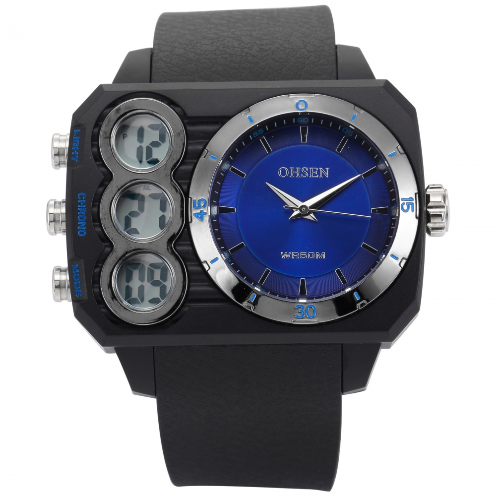 OHSEN Blue Big Oversized Case Dual Time Zone Date Alarm Stopwatch Quartz Rubber reloj hombre Men Male Digital Sport Watch/OHS236 top sale 2016 ohsen digital fashion sport men wrist watches alarm date display rubber strap outdoor big size male diver clocks