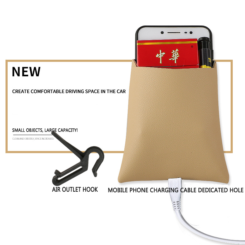 Image 5 - New Arrival Car Outlet Vent Tidy Storage Box With Charging Hole PU Leather Coin Bag Case Pocket Organizer Hanging Holder Pouch-in Stowing Tidying from Automobiles & Motorcycles