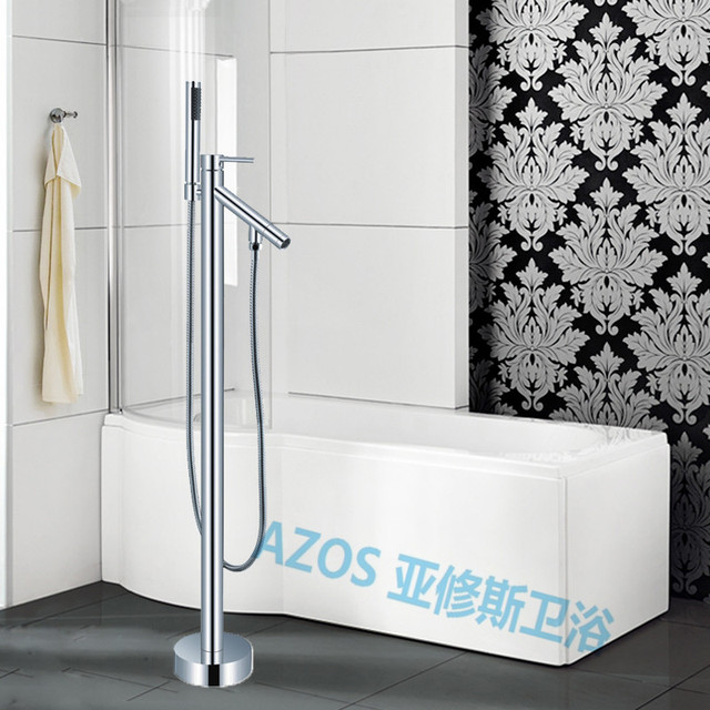 Bathtub Faucets Luxury Chrome Polish Water Mixers Floor Stand Hand Hold  Bathroom Shower Sauna Kit LDTZ020
