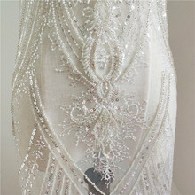 2019 NEW embroidery scallop gold lace trimming for dresses 21cm Width women mantilla lace trim beading lace gold color 5 yards!