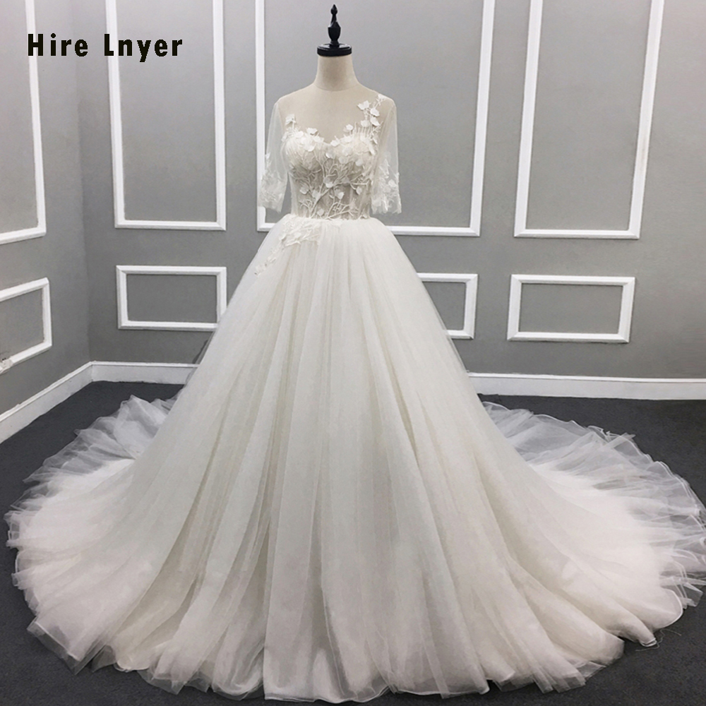 NAJOWPJG New Deaign <font><b>Sexy</b></font> Backless Half Sleeve A-line Wedding Dresses Alibaba China <font><b>Abiti</b></font> <font><b>Da</b></font> <font><b>Sposa</b></font> Flowers Lace Tulle Bridal Gown image