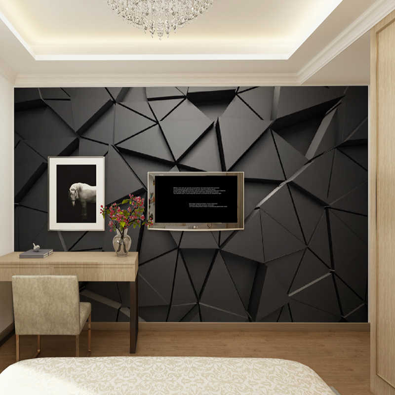 Modern Creative 3d Geometric Abstract Gray Triangle Large Mural 3d Wallpaper Living Room Tv Wall Home Decor Wall Cloth 3d Fresco Fabric Textile Wallcoverings Aliexpress