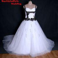 BacklakeGirl Satin A line Sweetheart Neckline One Shoulder Lace Up Back Sequined Beading Black and White Vintage Wedding Dress