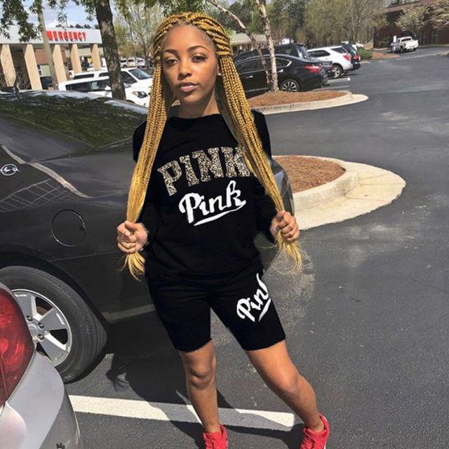 2019 New Plus Size 2 Piece Set Women Tracksuit Letter Print Tops T Shirt Skinny Pants Two Piece Sweatshirt Tracksuit Dropship
