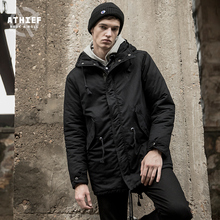 ATHIEF Parkas Cotton-padded jacketdovetail black casual Embroidery pockets lightweight warm comfortable