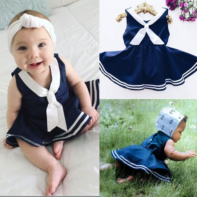 af09be8a938 2017 Summer Kid Baby Girls Clothing Navy Suit Striped Baby Wedding Pageant  Beach Casual Sleeveless Dress Cute Princess Dress