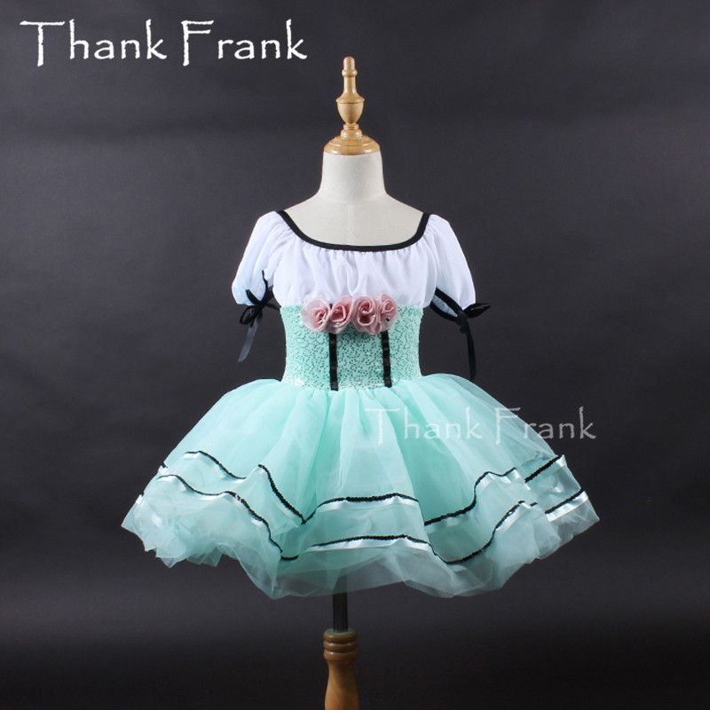 New Rose Flower Ballet Dress Kids Short Sleeve Tulle Ballet Leotard Dance Dress Girls Ballerina Tutu