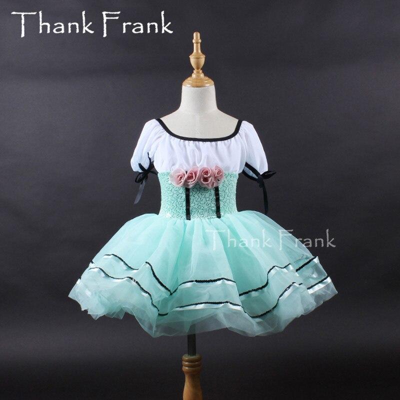 New Rose Flower Ballet Dress Kids Short Sleeve Tulle Ballet Leotard Dance Dress Girls Ballerina Tutu Dress Adult Dance Costume
