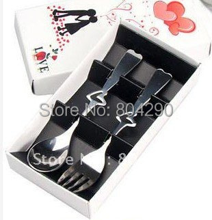 100 SET Free Shipping Bridal Shower Favors Heart Measuring Spoon And Fork Party Decoration