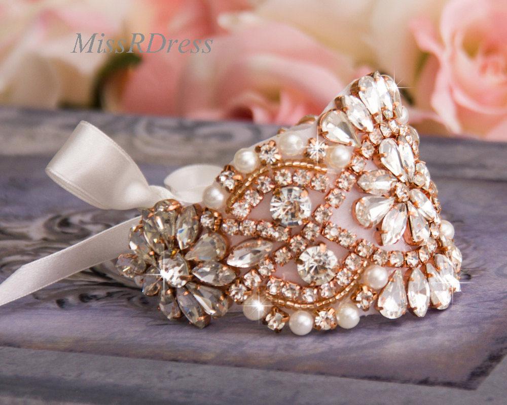 Rose Gold MissRDress Handmade Bridal Bracelet Bridal Cuff Women Bracelet Rhinestone Jeweled Wedding Cuff JK850