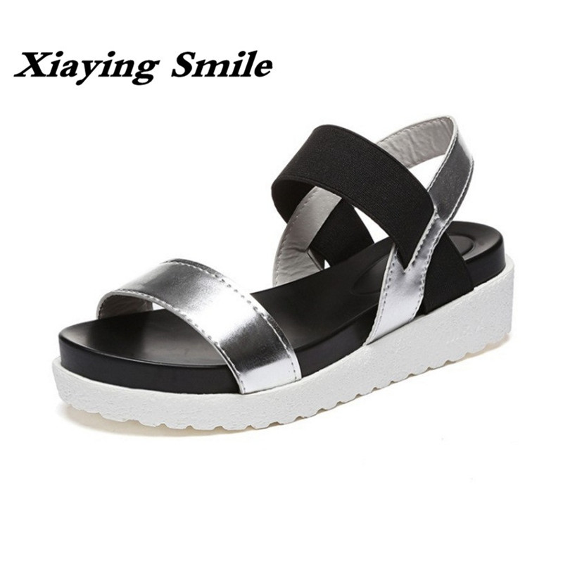Xiaying Smile Woman Sandals Casual Fashion Shoes Summer Wedges Heel Women Pumps Loop Antiskid Black White