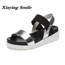 Xiaying Smile Woman Sandals Casual Fashion Shoes Summer Wedges Heel Women Pumps Loop Antiskid Black White Student Women Shoes