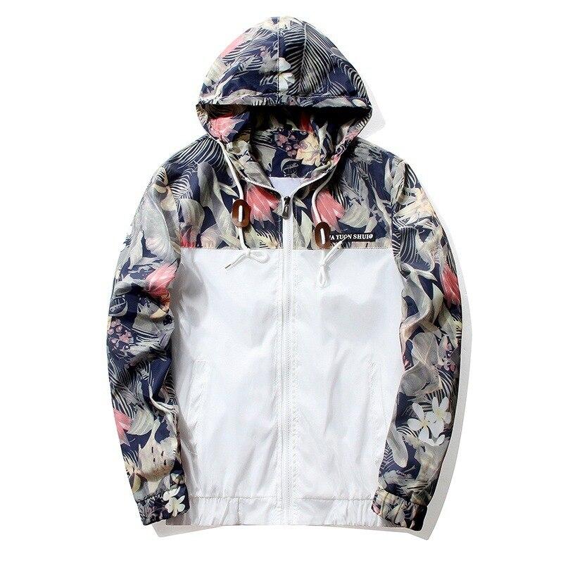 Chaqueta Floral 2018 otoño para hombre chaquetas con capucha Slim Fit manga larga Homme moda rompevientos abrigo marca ropa Envío Directo