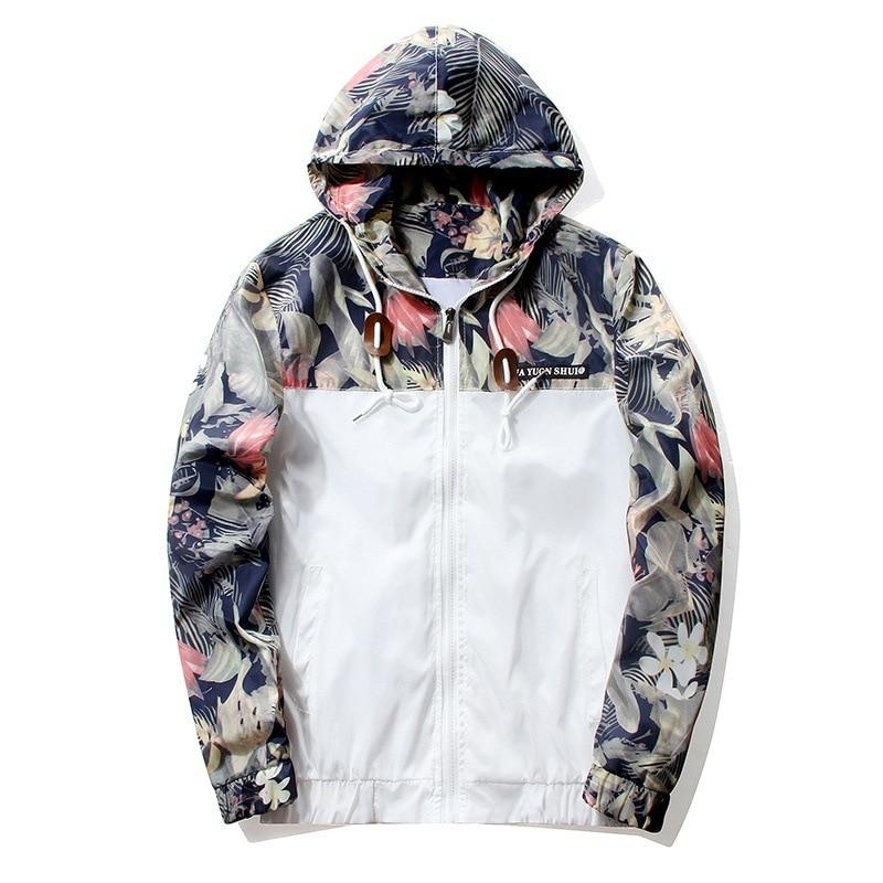 Floral Jacket 2018 Autumn Mens Hooded Jackets Slim Fit Long Sleeve Homme Trendy Windbreaker Coat Brand