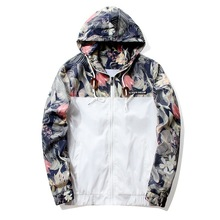 Floral Jacket 2018 Autumn Mens Hooded Jackets Slim Fit Long Sleeve Homme Trendy Windbreaker Coat Brand Clothing Drop Shipping