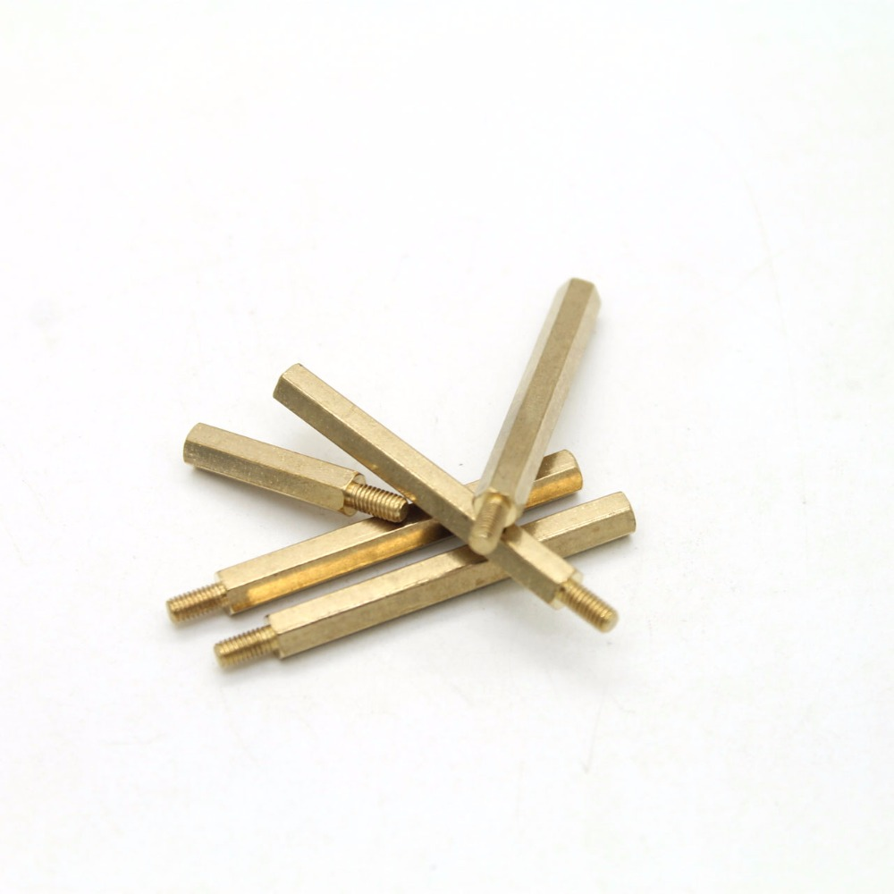 10pcs/lot M3 Male 6mm x M3 Female 30mm Brass Standoff Spacer M3 30+6 High Quality m4 male m 25 30 35 40 45 50 55 60 mm x m4 6mm female brass standoff spacer copper hexagonal stud spacer hollow pillars