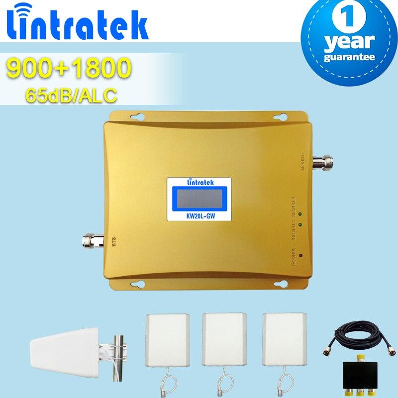 Lintratek GSM 900 DCS 1800 MHz double bande répéteurs de téléphone portable amplificateur de Signal récepteur de Signal Mobile + 3 antennes de panneau + Lpda S43