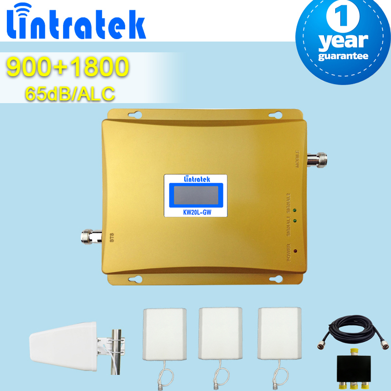 Lintratek GSM 900 DCS 1800MHz Dual Band Cellphone Repeaters Signal Amplifier Mobile Signal Receiver+3 Panel Antennas+Lpda S43