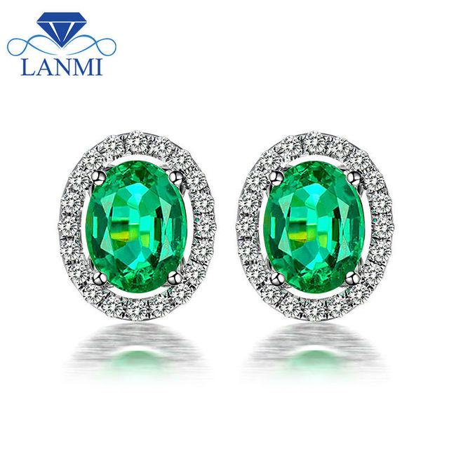 Fashion Las 2 29ct Colombia Emerald Gemstone Stud Earrings Solid 14k White Gold Natural Diamond