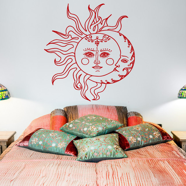 Sun And Moon Wall Decal Sticker Crescent Decor Ethnic Symbol Decals Bedroom Dorm