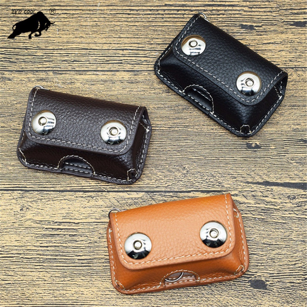 ZYD-COOL  2018 Retro Genuine Cow Leather Men's Key Wallet Car Key Holder Bag Pack Button Belt  Holder Housekeeper Men Keychain