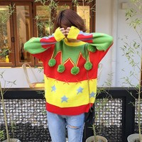 2017 Autumn And Winter Women Long Sleeves Christmas Ugly Sweater Spliced Sweet O Neck Pom Pom