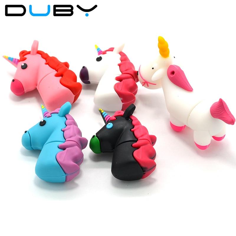 U disk white Unicorn usb flash drive real capacity cute horse pen drive 4G 8G 16G 32G 64GB flash memoy Free shipping