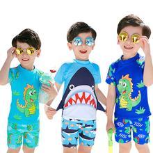 Dragonpad 3 шт./компл. для детей для маленьких мальчиков Разделение Акула печать быстрое высыхание Плавание ming костюм детский купальник костюмы купальник для подростков