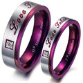 FASHION Couple Rings Jewelry Stainless Steel crystal CZ Ring Men and Women Trendy Purple Circle Love Christmas gift