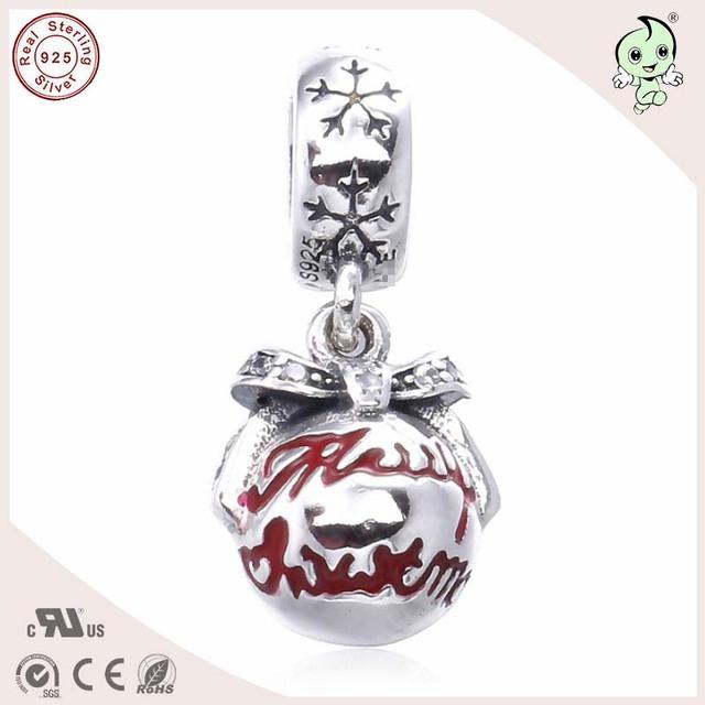 Popular Esmalte Lindo de la Navidad Bola Empate Diseño 925 Auténtica Plata Encanto Ajustados Famosos de Europa Marca Pulsera de Plata