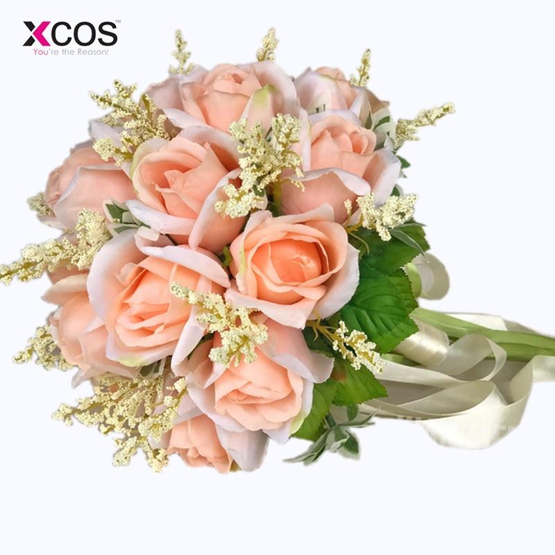 Bruidsboeket Hoge kwaliteit ivoorroos Gooi bruiloft 18 bloemen - Bruiloft accessoires - Foto 6