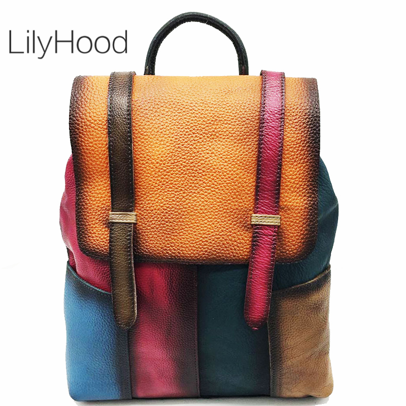 Multicolor Genuine Leather Backpack Casual High Quality Leather Retro Knapsack Female Vintage Big Capacity Sling Bag PacksackMulticolor Genuine Leather Backpack Casual High Quality Leather Retro Knapsack Female Vintage Big Capacity Sling Bag Packsack