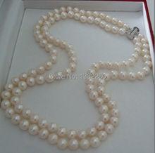 ¡ Caliente! 2 fila 7-8mm Blanco de agua dulce collar de perlas 17-18 pulgadas DIY joyería moda mujer fabricación hecha a mano de diseño