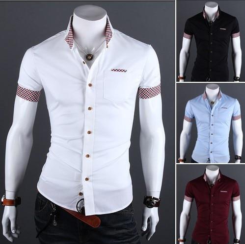 3e54f3ffbf Moda 2018 estilo del verano del color puro de los hombres camisas casuales  Plaid costura diseño Sashion manga corta camisa masculina