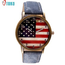 Drop Shipping Vintage USA Flag American Denim Leather Wrist Watch Women Men Quartz Gift Watches 170627(China)