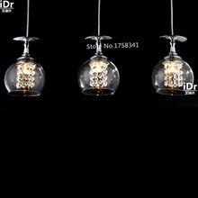 Новый современный краткое одной головкой бокал бар таблица светодиодные лампы кристалл подвесной светильник Коридор огни Высококлассные атмосферу